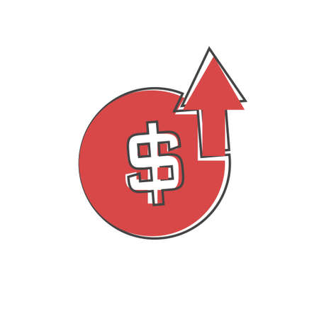 Income level growth vector icon on cartoon style on white isolated background. Layers grouped for easy editing illustration. Vectores
