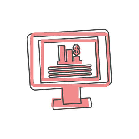 Dashboard icon on monitor cartoon style on cartoon style on white isolated background. Layers grouped for easy editing illustration.
