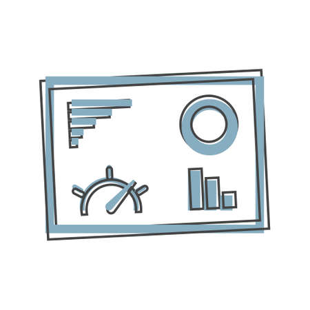 Dashboard icon on monitor cartoon style on cartoon style on white isolated background. Layers grouped for easy editing illustration. For your design. Vectores