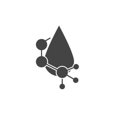 Vector icon water molecule, drops of acid on cartoon style on white isolated background. Layers grouped for easy editing illustration.