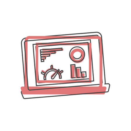 Dashboard icon on monitor cartoon style on cartoon style on white isolated background. Layers grouped for easy editing illustration. For your design. Illusztráció