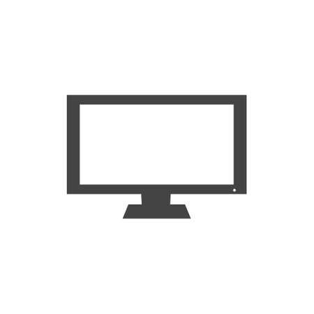 Vector illustration of a modern computer monitor. Monitor with white blank screen on white isolated Layers grouped for easy editing illustration. For your design. Illusztráció