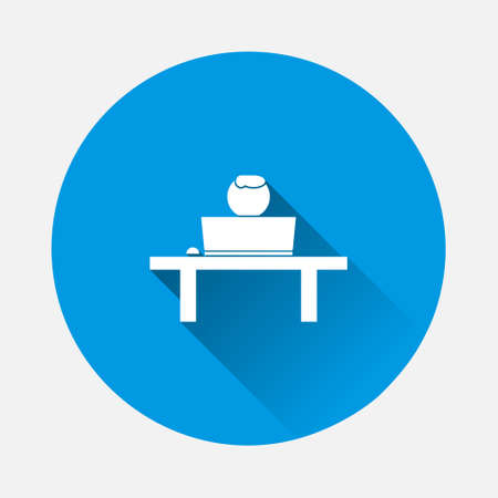 Vector icon of distance work, training icon on blue background. Flat image with long shadow. Layers grouped for easy editing illustration. For your design.