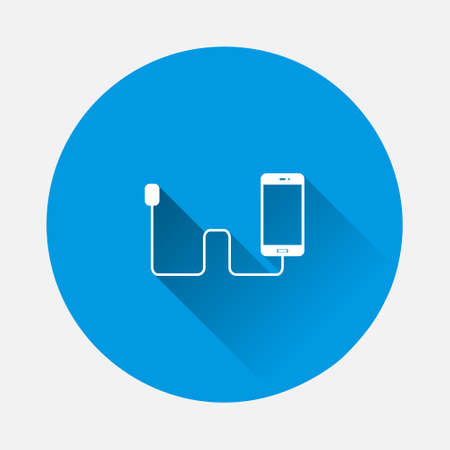 Vector icon phone is charging icon on blue background. Flat image with long shadow. Layers grouped for easy editing illustration. For your design.