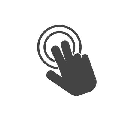 Vector icon hand presses clicks on the button on white isolated background. Layers grouped for easy editing illustration. For your design.