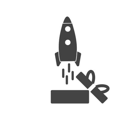 Rocket vector icon flying out of the box on white isolated background. Layers grouped for easy editing illustration. For your design.