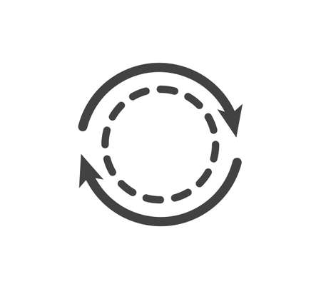 Vector circle and two arrows icon on white isolated background. Layers grouped for easy editing illustration. For your design.