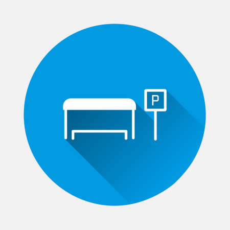 iBus station vector icon on blue background. Flat image with long shadow. Layers grouped for easy editing illustration. For your design. 矢量图像