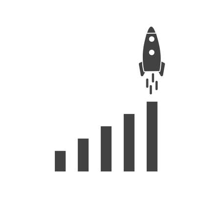 Growth graph with rocket. Vector business icon schedule on white isolated background. Layers grouped for easy editing illustration. For your design. 矢量图像