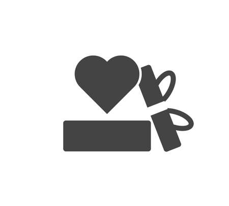 Vector icon friendship and love. Box with gift and heart on white isolated background. Layers grouped for easy editing illustration. For your design.