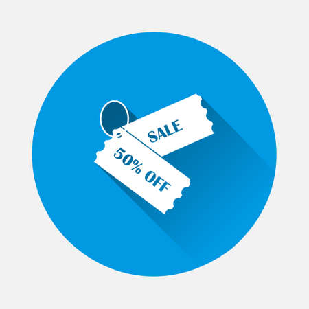 Discount Coupon Vector Icon icon on blue background. Flat image with long shadow. Layers grouped for easy editing illustration. For your design.