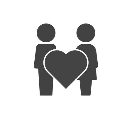 Vector icon friendship and love. Man, woman and heart on white isolated background. Layers grouped for easy editing illustration. For your design. 矢量图像