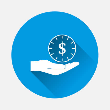 Vector time is money with hand on icon on blue background. Flat image with long shadow.Layers grouped for easy editing illustration. For your design. 矢量图像
