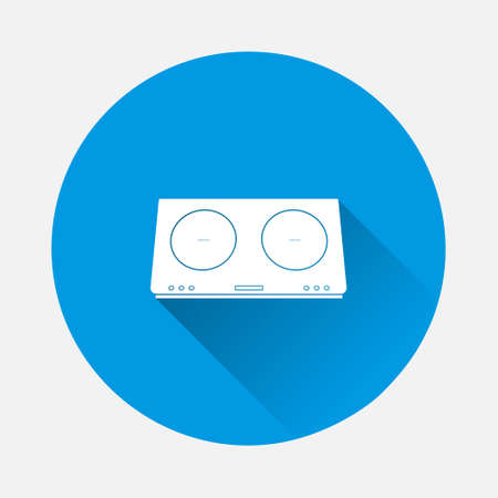 Desktop induction cooker vector icon on blue background. Flat image with long shadow. Layers grouped for easy editing illustration. For your design. 矢量图像