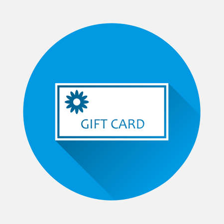 Gift card vector image. Gift card store icon on blue background. Flat image with long shadow. Layers grouped for easy editing illustration. For your design.