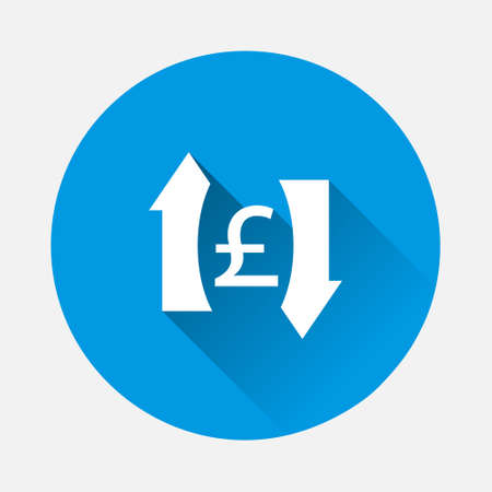 Vector up and down arrow and pound sign icon on blue background. Flat image with long shadow. Layers grouped for easy editing illustration. For your design.