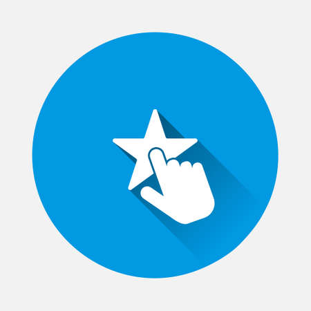 Hand push on star. Favorite vector icon on blue background. Flat image with long shadow. Layers grouped for easy editing illustration. For your design.
