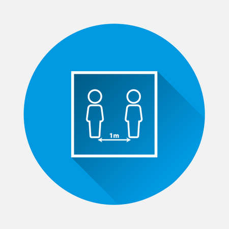 Vector icon need to keep distance between people icon on blue background. Flat image with long shadow. Layers grouped for easy editing illustration. For your design.
