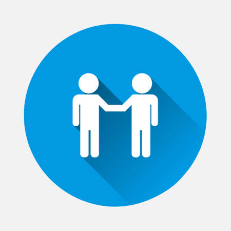 Vector icon two people businessman greet icon on blue background. Flat image with long shadow. Layers grouped for easy editing illustration. For your design. 矢量图像