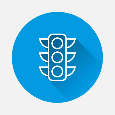 Traffic light vector icon on blue background. Flat image with long shadow. Layers grouped for easy editing illustration. For your design. 矢量图像