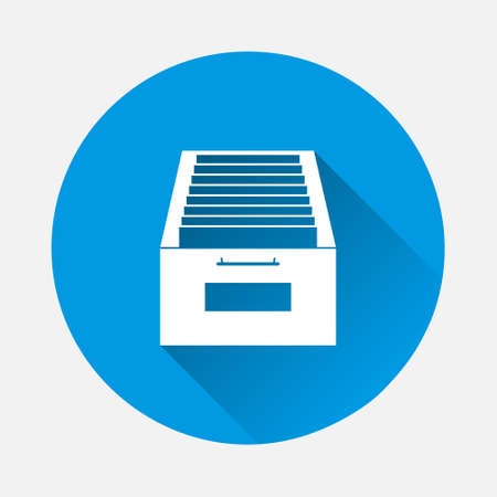Vector icon Archived documents, storing documents in archives icon on blue background. Flat image with long shadow. Layers grouped for easy editing illustration. For your design.