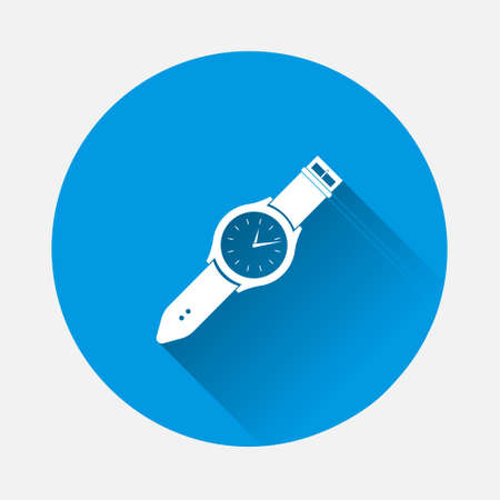 Classic wrist watch. Clock icon. Vector Clock Icon on white isolated background icon on blue background. Flat image with long shadow. Layers grouped for easy editing illustration. For your design. 矢量图像