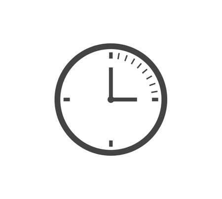 Clock icon on white isolated background. Layers grouped for easy editing illustration. For your design. 矢量图像