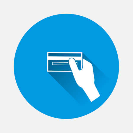 Vector icon hand holds a credit card icon on blue background. Flat image with long shadow. Layers grouped for easy editing illustration. For your design.