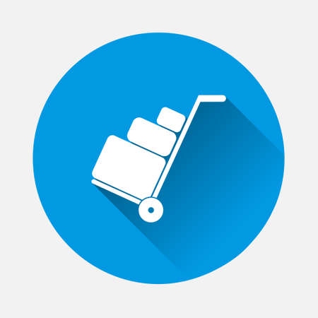 Vector icon shows the presence of porters.Vector icon baggage icon on blue background. Flat image with long shadow. Layers grouped for easy editing illustration. For your design. 矢量图像