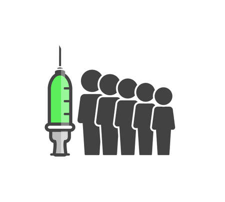 Population vaccination vector icon. Syringe and crowd of people on white isolated background. Layers grouped for easy editing illustration. For your design.