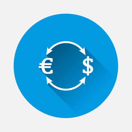 Vector arrow and euro dollar sign icon on blue background. Flat image with long shadow. Layers grouped for easy editing illustration. For your design.