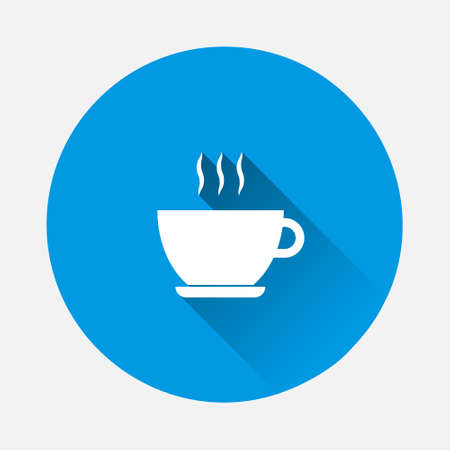 Coffee break vector icon on blue background. Flat image with long shadow. Layers grouped for easy editing illustration. For your design.