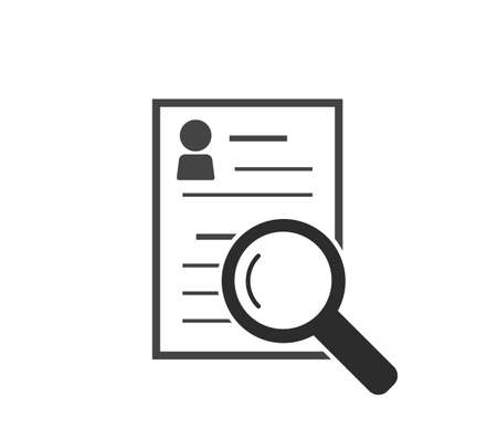 Vector document icon and magnifier. Document verification symbol on white isolated background. Layers grouped for easy editing illustration. For your design 矢量图像