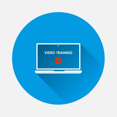 Vector distance learning icon. Icon of laptop and education symbol icon on blue background. Flat image with long shadow. Layers grouped for easy editing illustration. For your design.