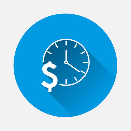 Vector icon time is money icon on blue background. Flat image with long shadow. Layers grouped for easy editing illustration. For your design. 矢量图像