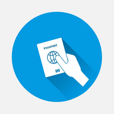 Vector icon hand holds a passport icon on blue background. Flat image with long shadow. Layers grouped for easy editing illustration. For your design.