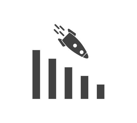 Vector image diagram of decline with rocket, recession. Icon financial crisis. Drop in sales on white isolated background. Layers grouped for easy editing illustration. For your design.