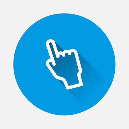 Hand clicks. Cursor icon on blue background. Flat image with long shadow. Layers grouped for easy editing illustration. For your design. 矢量图像