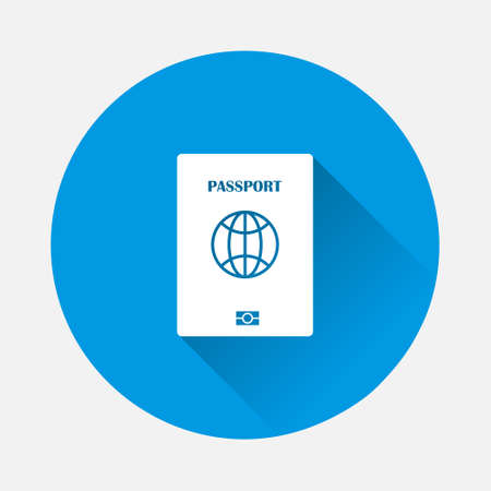Passport vector icon on blue background. Flat image with long shadow. Layers grouped for easy editing illustration. For your design.