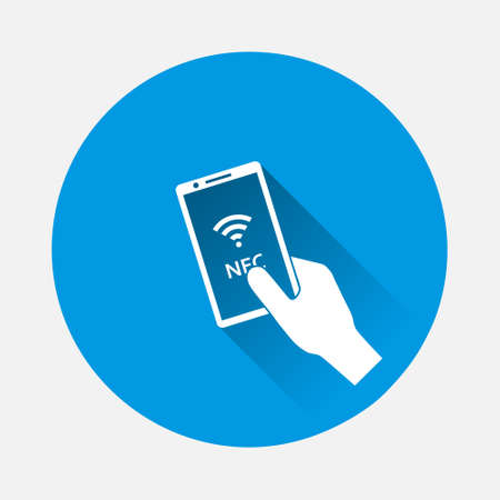 Vector icon hand holds a telephone icon on blue background. Flat image with long shadow. Layers grouped for easy editing illustration. For your design.
