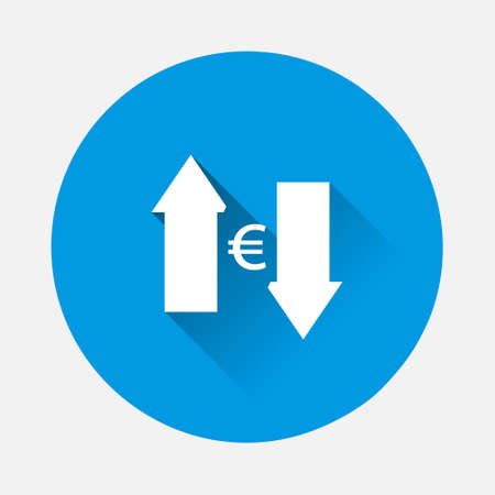 Vector up and down arrow and euro sign icon on blue background. Flat image with long shadow. Layers grouped for easy editing illustration. For your design.