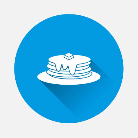 Pancake vector icon on blue background. Flat image with long shadow. Layers grouped for easy editing illustration. For your design.