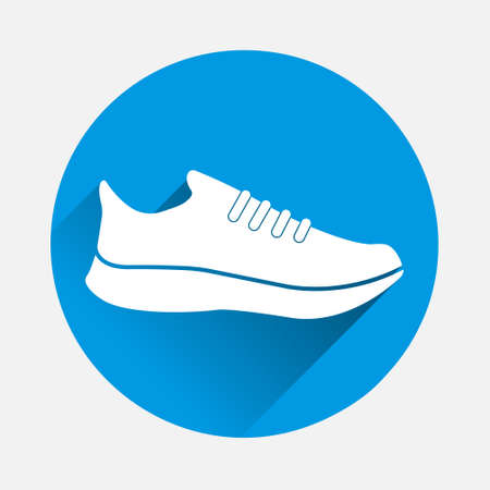 Vector icon sports shoes sneakers on icon on blue background. Flat image with long shadow. Layers grouped for easy editing illustration. For your design.