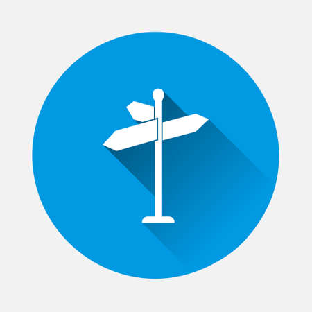 Vector pointer direction icon on blue background. Flat image with long shadow.Layers grouped for easy editing illustration. For your design.
