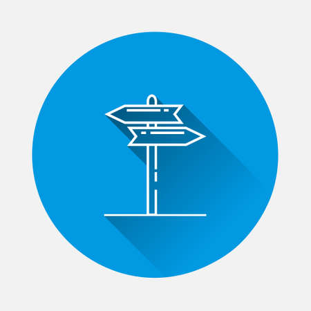 Vector pointer direction icon on blue background. Flat image with long shadow. Layers grouped for easy editing illustration.