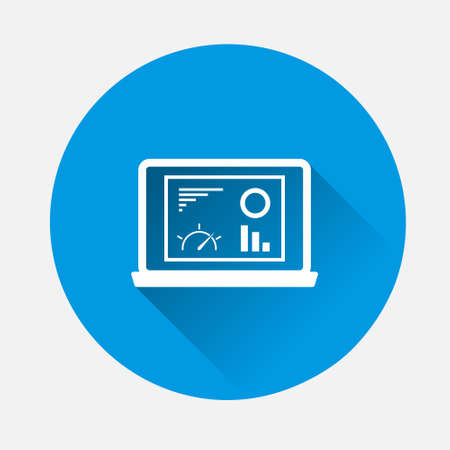Vector pointer direction icon on blue background. Flat image with long shadow.Layers grouped for easy editing illustration.