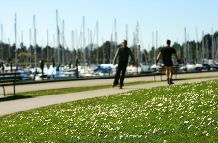 Rollerblading in Stanley Park, Vancouver, Canada photo