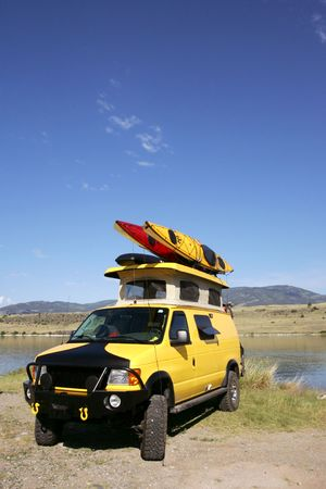 Camping under the rainbow with 4x4 RV van in Montana photo