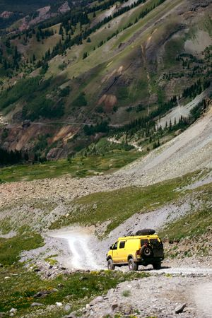 Off roading in high Rocky Mountains, Colorado