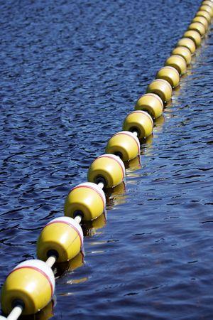 Safety buoys at swimming beach, Deception Pass State park, Washington State, USA Stock Photo